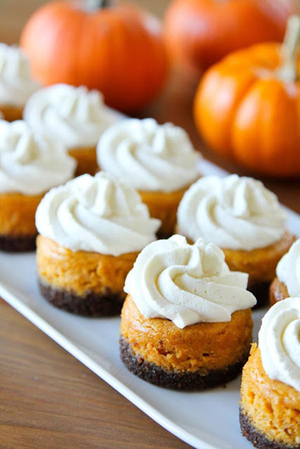 Brit+Co- Mini Pumpkin Cheesecakes