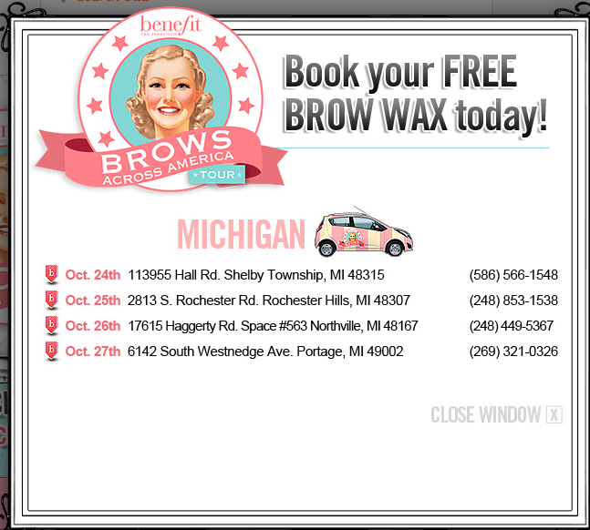 Free Benefit Brow Wax Event #FreeBrows - DetroitMommies.com ...